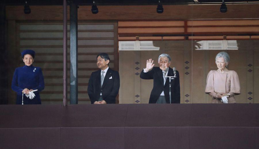 La princesse Masako du Japon avec le prince Naruhito, l'empereur Akihito et l'impératrice Michiko à Tokyo, le 23 décembre 2018