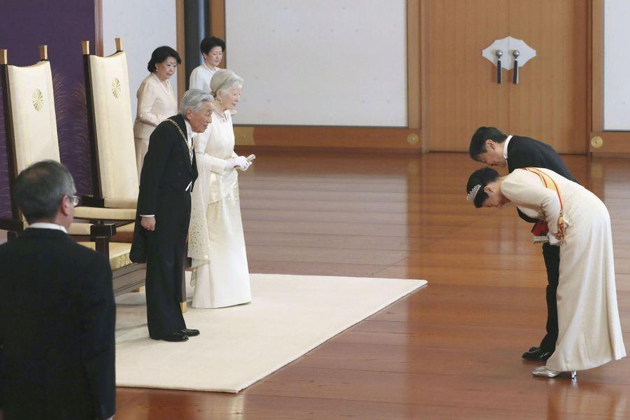 La princesse Masako du Japon avec le prince Naruhito, l'empereur Akihito et l'impératrice Michiko à Tokyo, le 1er janvier 2019