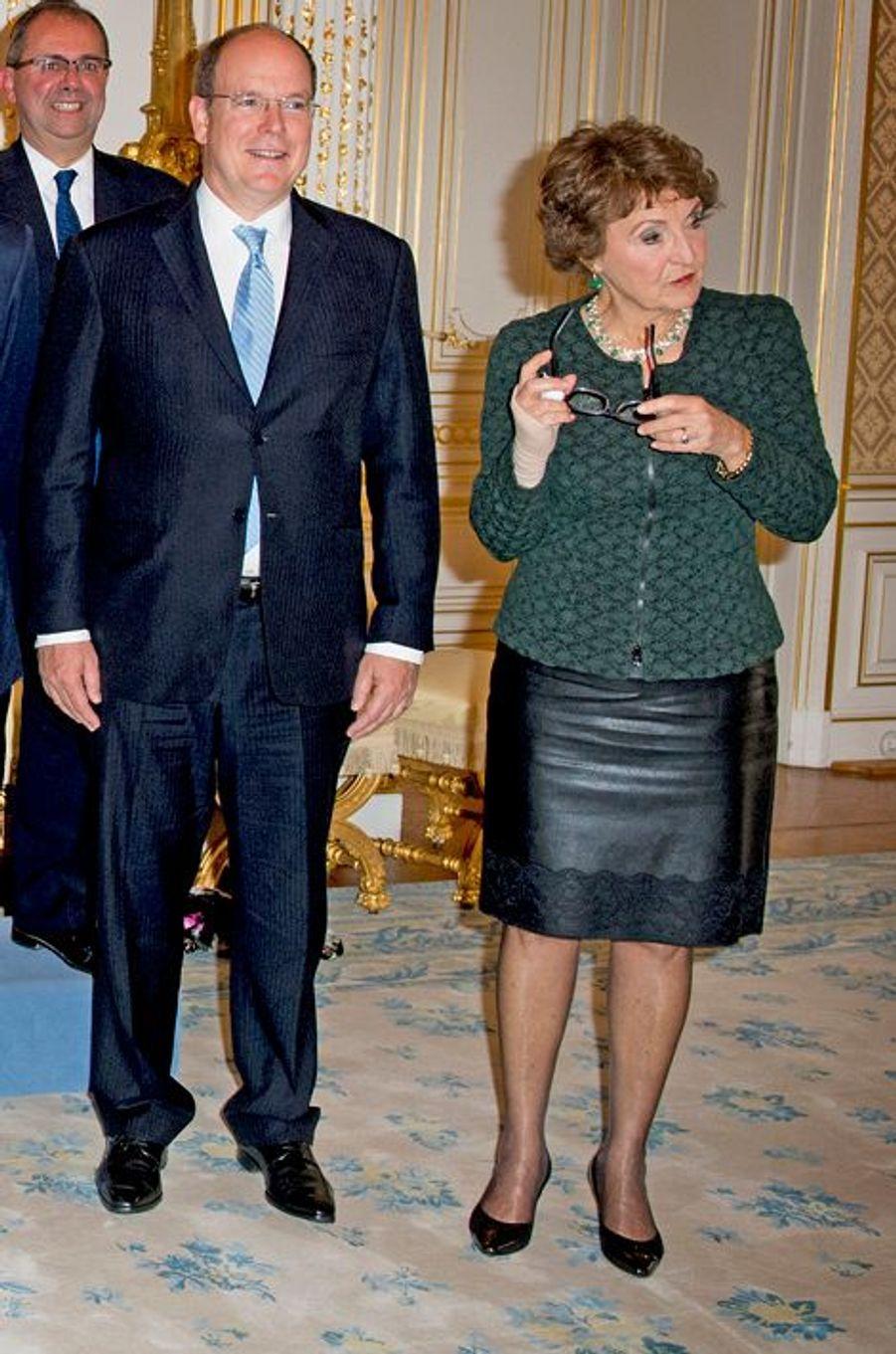 Le prince Albert II de Monaco et la princesse Margriet des Pays-Bas à Luxembourg, le 15 octobre 2015