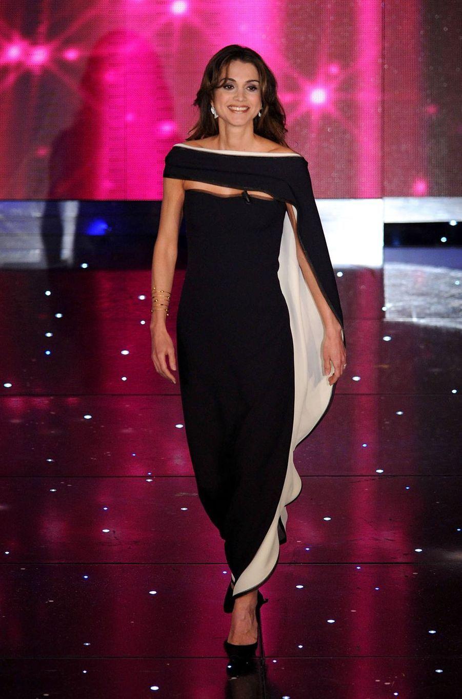 La reine Rania de Jordanie à San Remo, le 17 février 2010