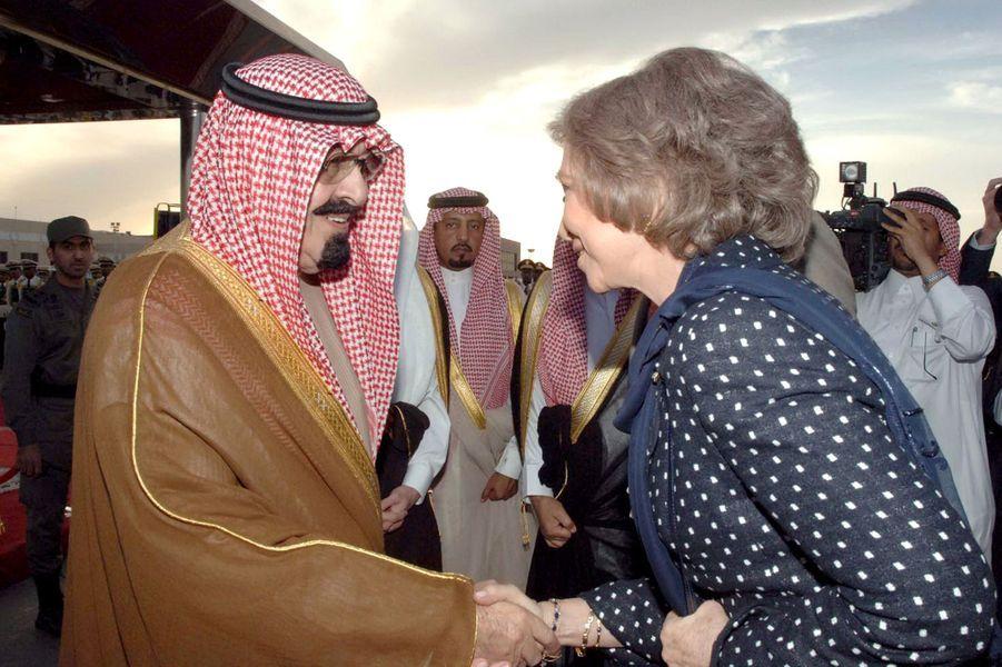 Le roi Abdallah avec la reine Sophia d'Espagne à Riad, le 8 avril 2006