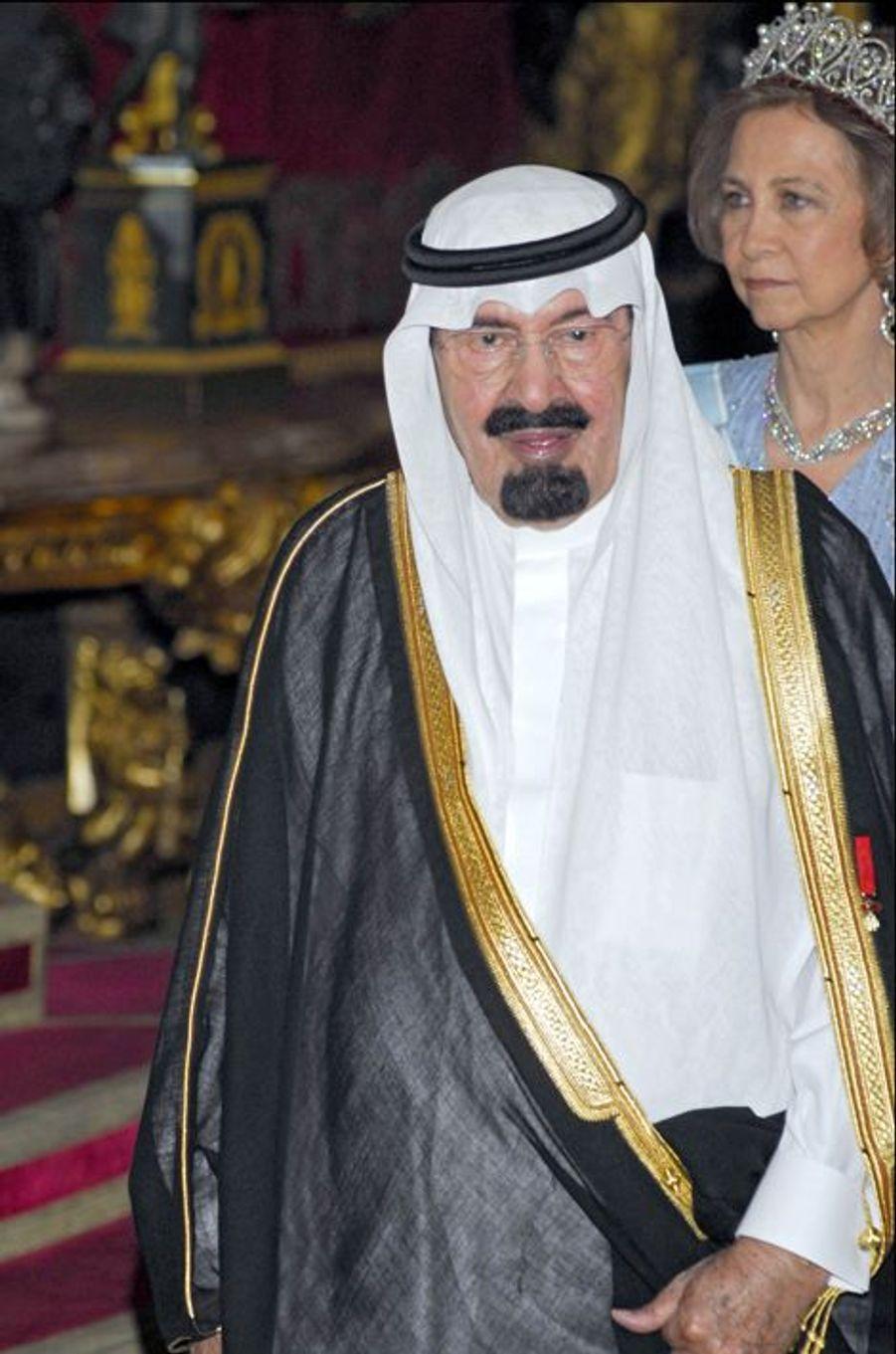 Le roi Abdallah avec la reine Sophia d'Espagne (photo non datée)