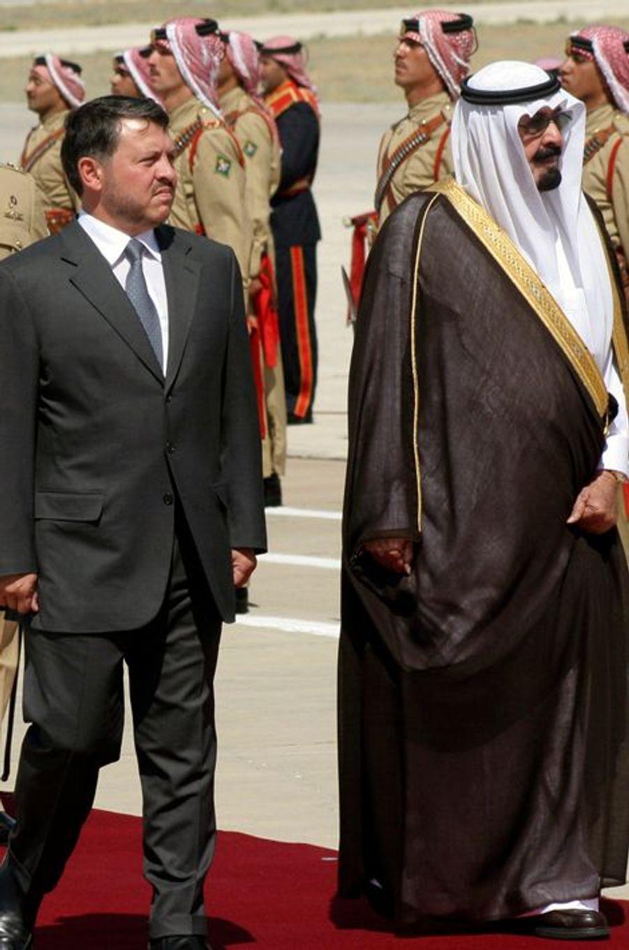 Le roi Abdallah avec le roi Abdallah II de Jordanie à Amman, le 27 juin 2007