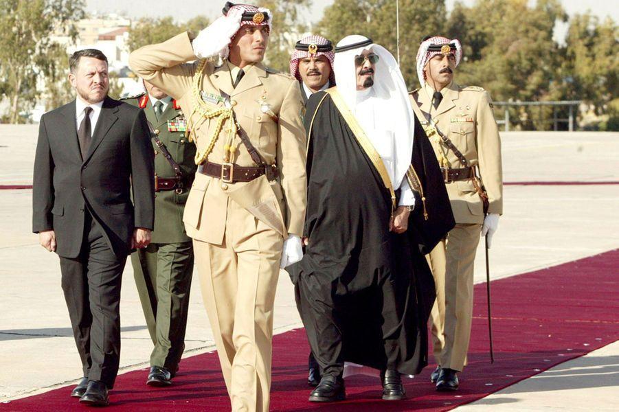 Le roi Abdallah avec le roi Abdallah II de Jordanie à Amman, le 7 mai 2005