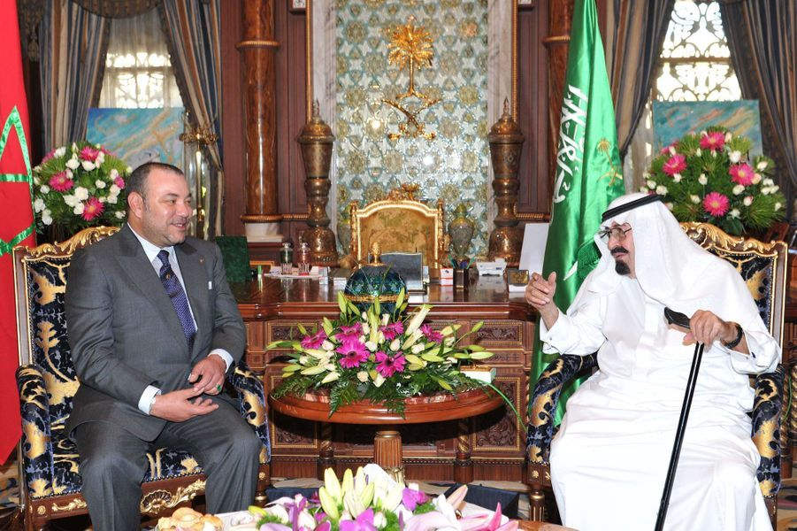 Le roi Abdallah avec le roi Mohammed VI du Maroc à Casablanca, le 11 septembre 2011