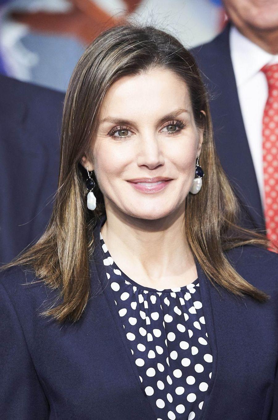 La reine Letizia d'Espagne à Malaga, le 6 février 2018