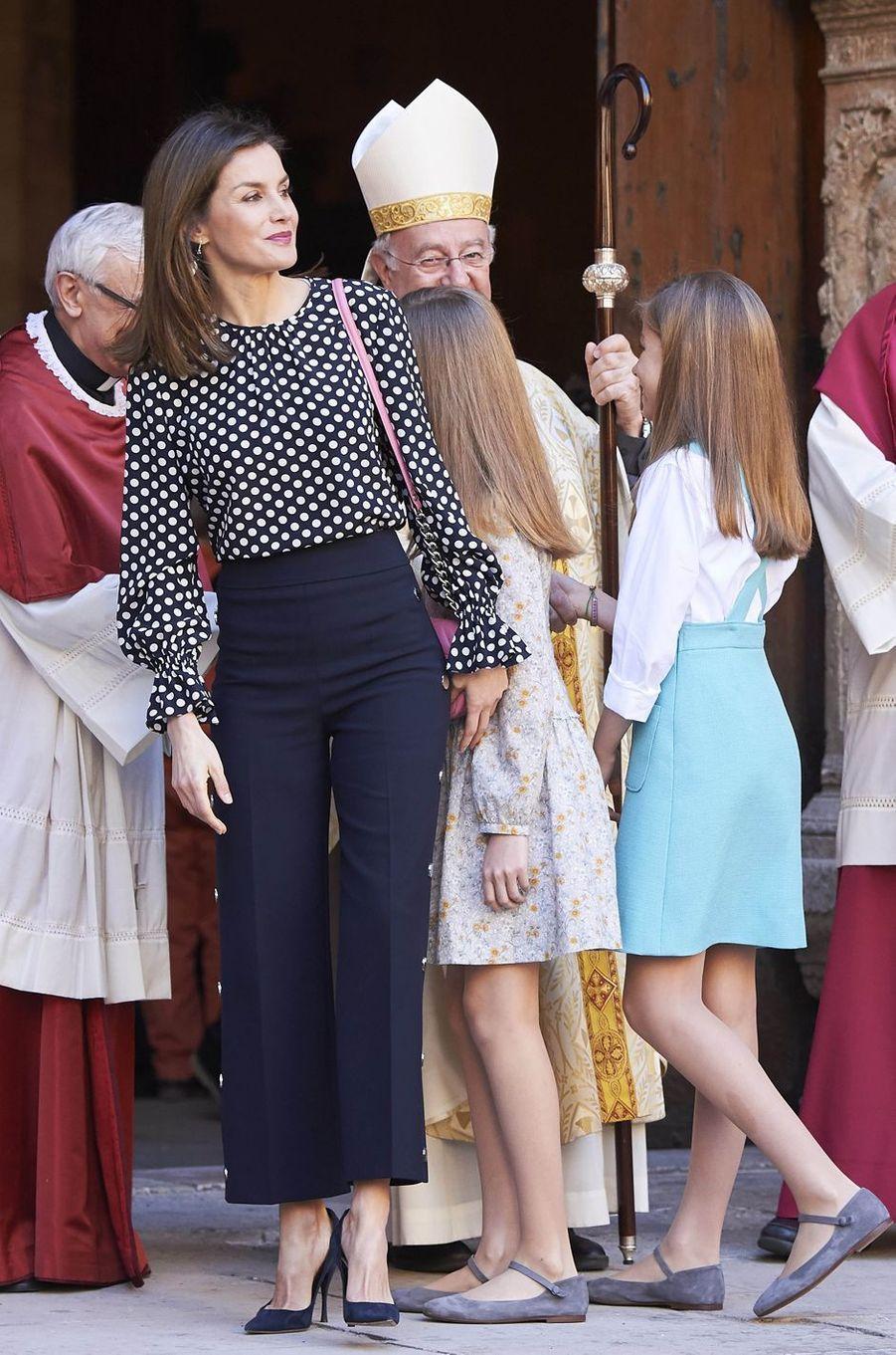 La reine Letizia d'Espagne à Palma de Majorque, le 1er avril 2018