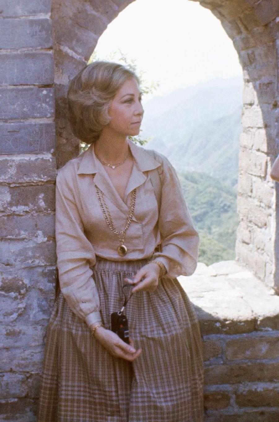 La reine Sofia sur la Grande Muraille de Chine, le 23 juin 1978
