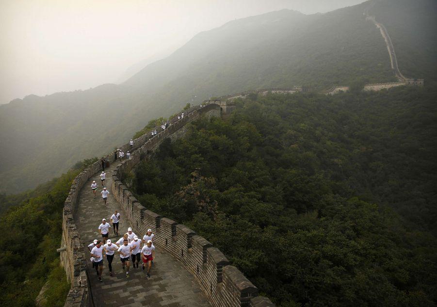 Le prince Frederik de Danemark sur la Grande Muraille de Chine, le 25 septembre 2017