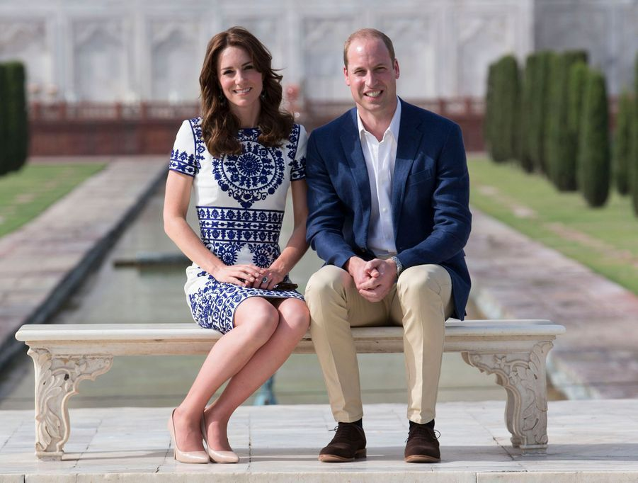 Le prince William et Kate Middleton au Taj Mahal à Agra en Inde, le 16 avril 2016