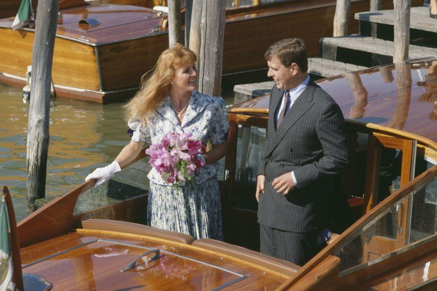 Sarah Ferguson, duchesse d'York, et le prince Andrew à Venise, en août 1989