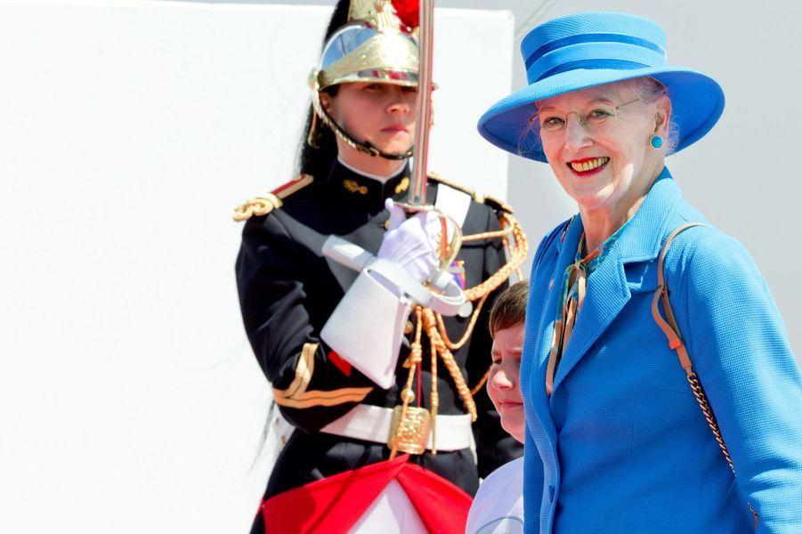 La reine Margrethe II de Danemark à Ouistreham, le 6 juin 2014