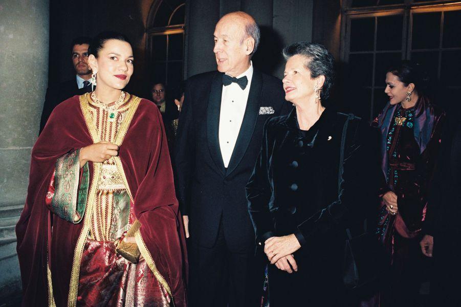 Valéry et Anne-Aymone Giscard d'Estaing avec la princesse Lalla Meryem du Maroc, le 25 novembre 1996