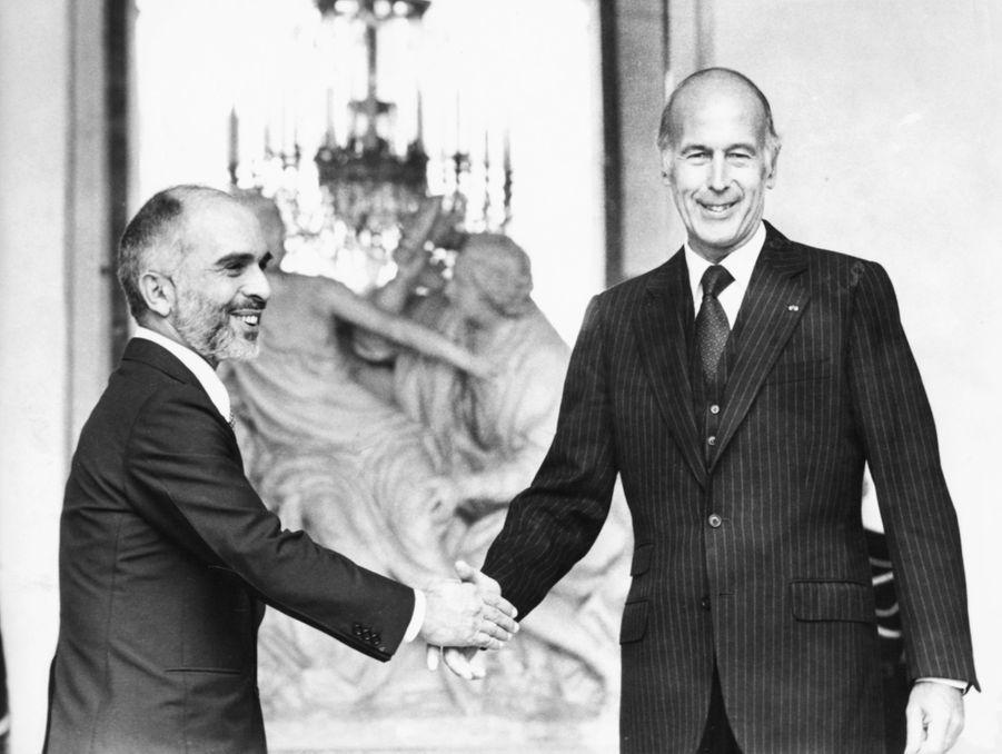 Valéry Giscard d'Estaing avec le roi Hussein de Jordanie, vers 1980