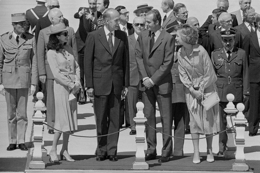 Valéry et Anne-Aymone Giscard d'Estaing avec le roi Juan Carlos d'Espagne et la reine Sofia, le 29 juin 1978