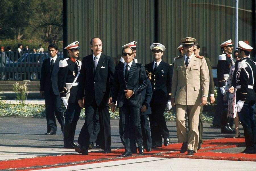 Valéry Giscard d'Estaing avec le roi Hassan II du Maroc en 1975