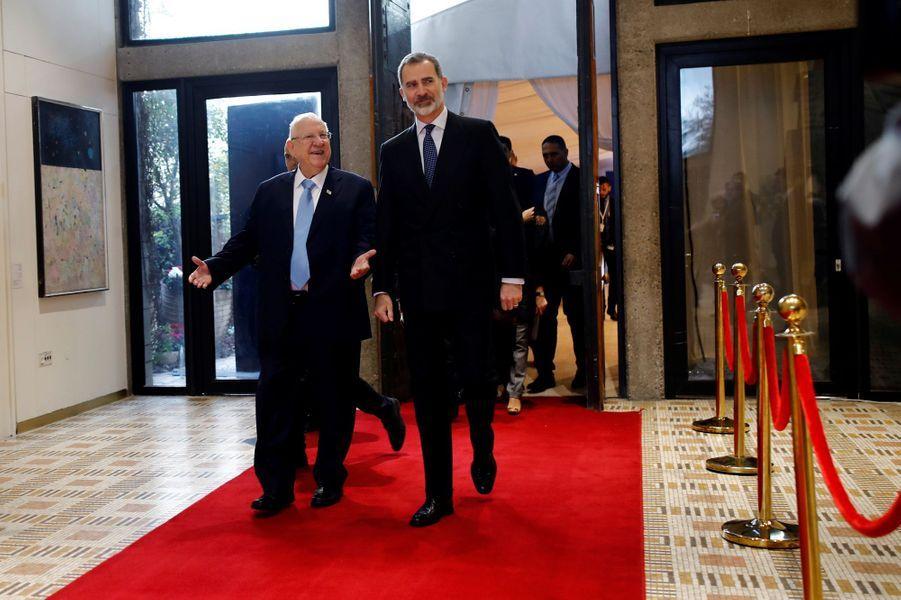 Le roi Felipe VI d'Espagne avec le président de l'Etat d'Israel Reuven Rivlin à Jérusalem, le 23 janvier 2020