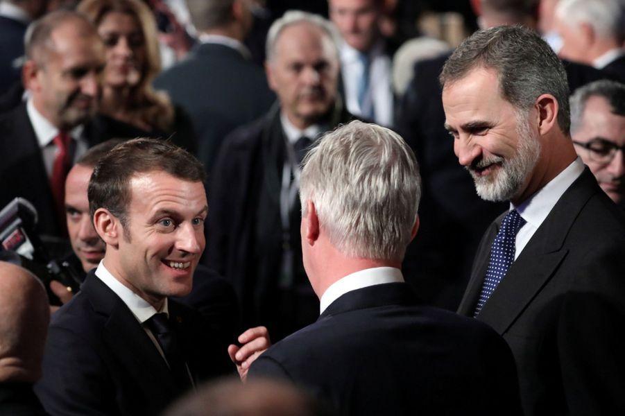 Le roi des Belges Philippe et le roi Felipe VI d'Espagne avec Emmanuel Macron à Jérusalem, le 23 janvier 2020