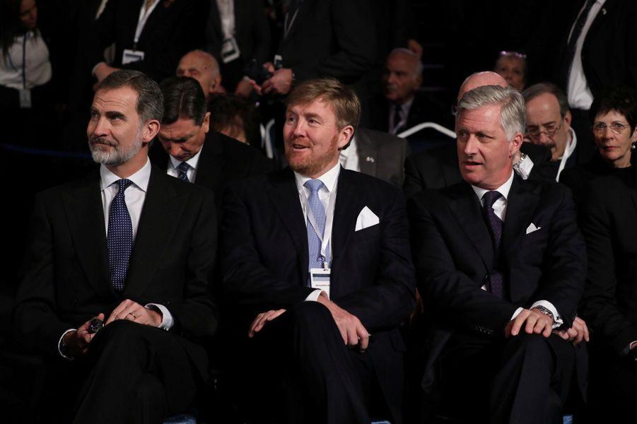 Le roi Felipe VI d'Espagne, le roi Willem-Alexander des Pays-Bas et le le roi des Belges Philippe à Jérusalem, le 23 janvier 2020