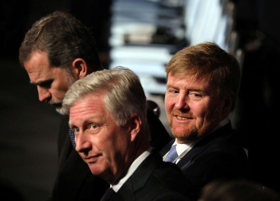 Le roi Felipe VI d'Espagne, le roi des Belges Philippe et le roi Willem-Alexander des Pays-Bas à Jérusalem, le 23 janvier 2020