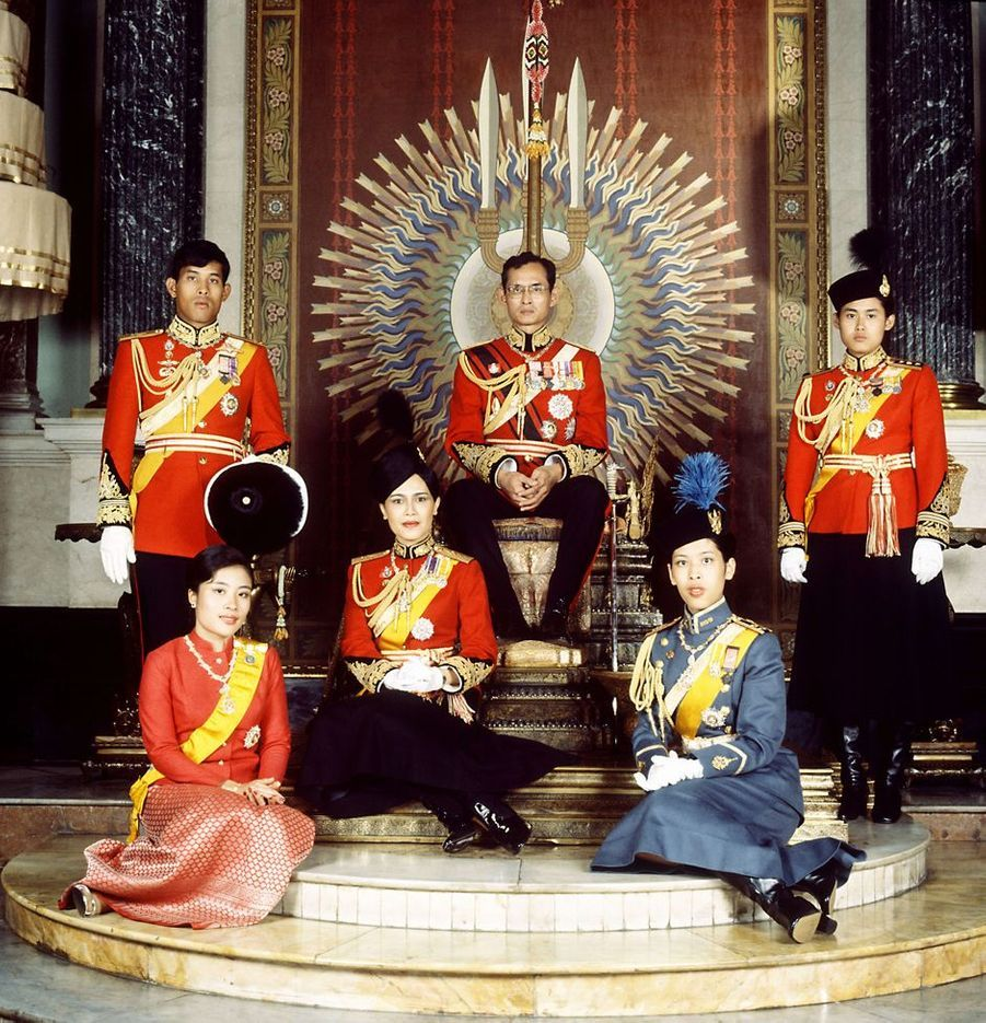 La princesse Ubolratana de Thaïlande avec la famille royale à Bangkok, le 15 juin 1979