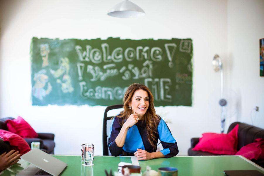 La reine Rania en visite à Amman en 2015