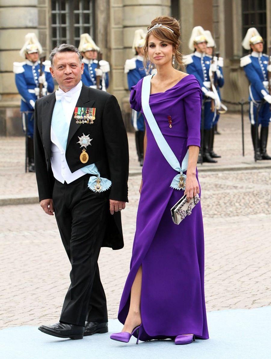 La reine Rania et le roi Abdallah au mariage de la princesse Victoria en 2010
