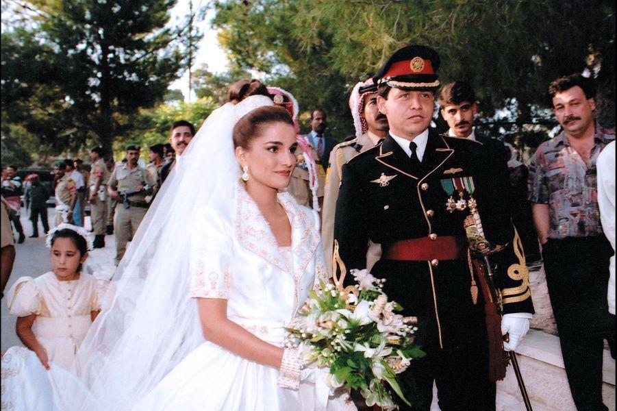Rania et Abdallah lors de leur mariage en 1993