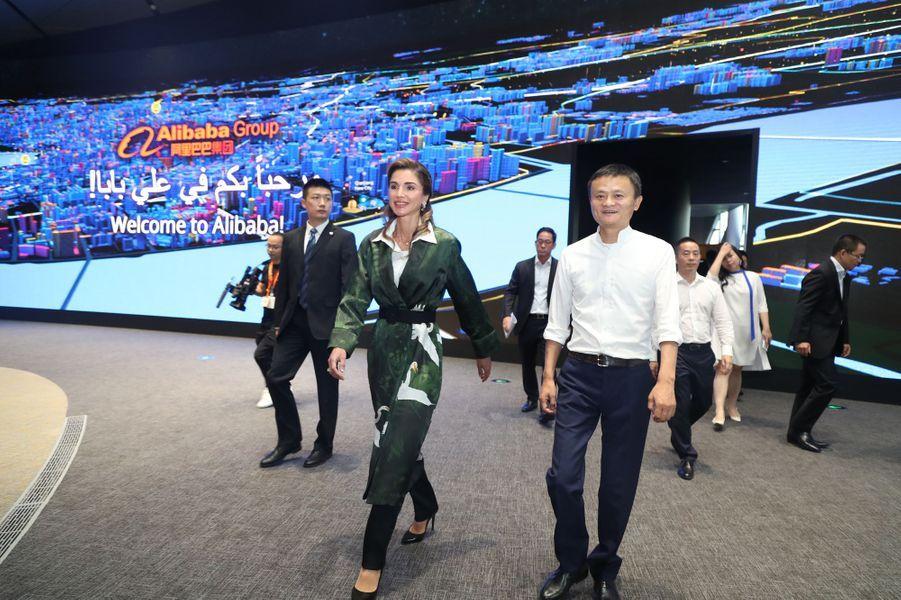 La reine Rania de Jordanie au siège d'Alibaba à Hangzhou en Chine, le 3 septembre 2018