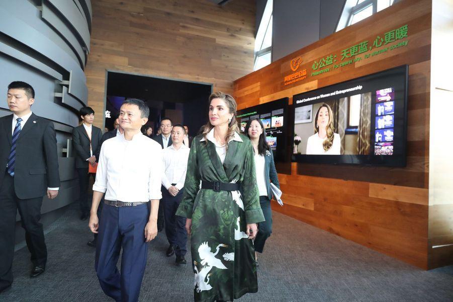La reine Rania de Jordanie en Chine à Hangzhou, le 3 septembre 2018