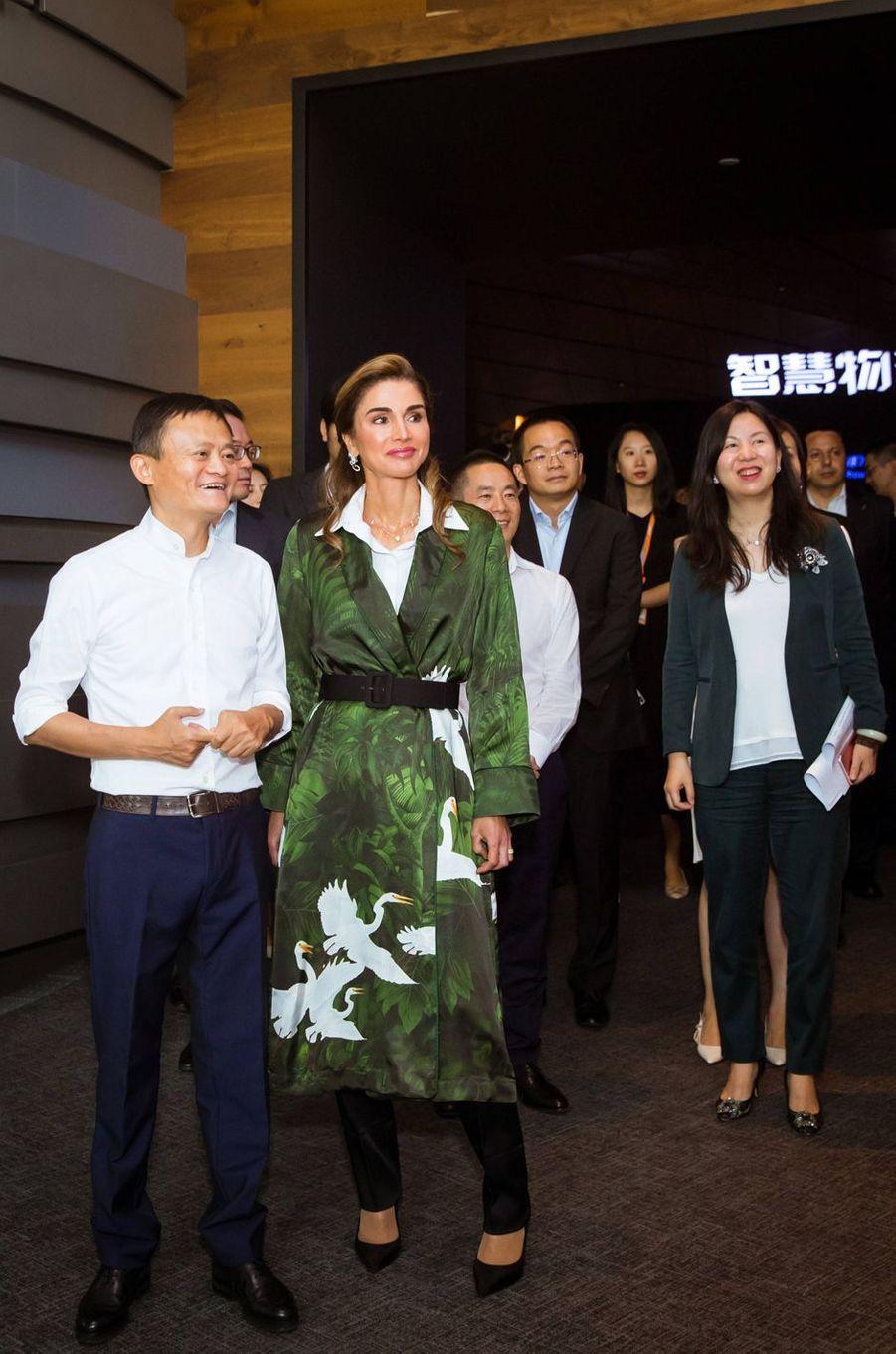 La reine Rania de Jordanie avec Jack Ma à Hangzhou, le 3 septembre 2018
