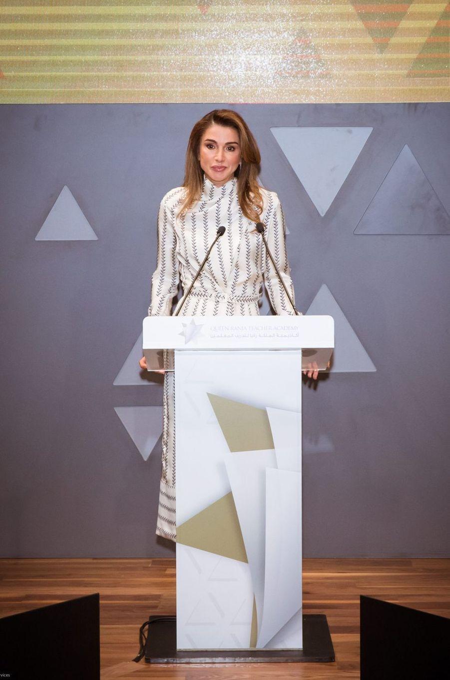 La reine Rania de Jordanie à Amman, le 27 janvier 2019