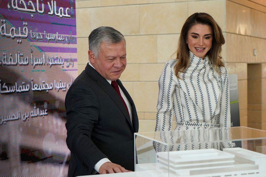 La reine Rania et le roi Abdallah II de Jordanie dans les nouveaux locaux de la Queen Rania Teacher Academy à Amman, le 27 janvier 2019