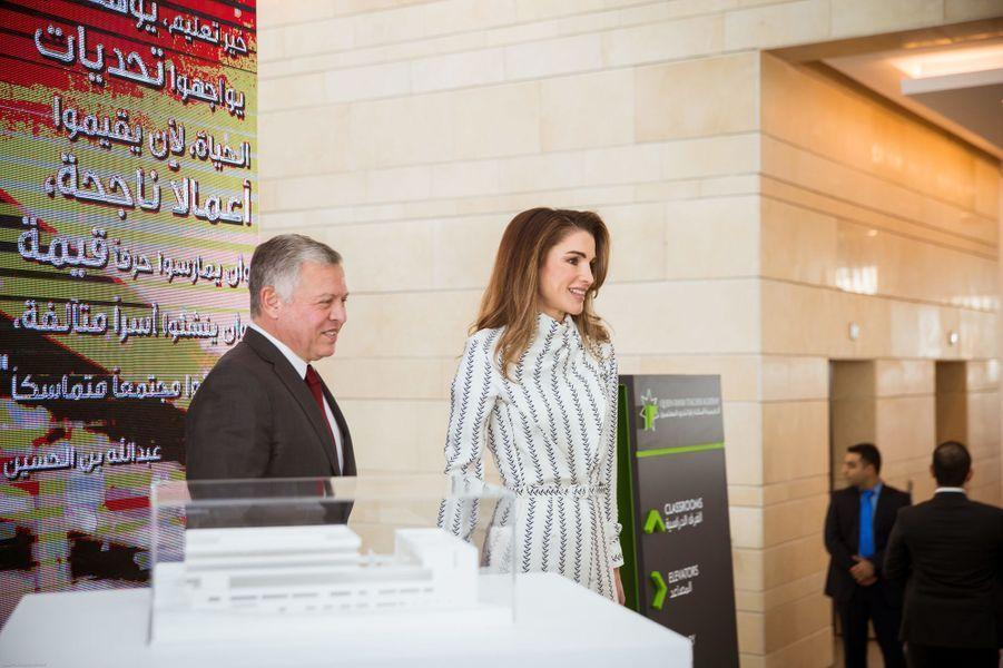 La reine Rania et le roi Abdallah II de Jordanie inaugurent la Queen Rania Teacher Academy à Amman, le 27 janvier 2019