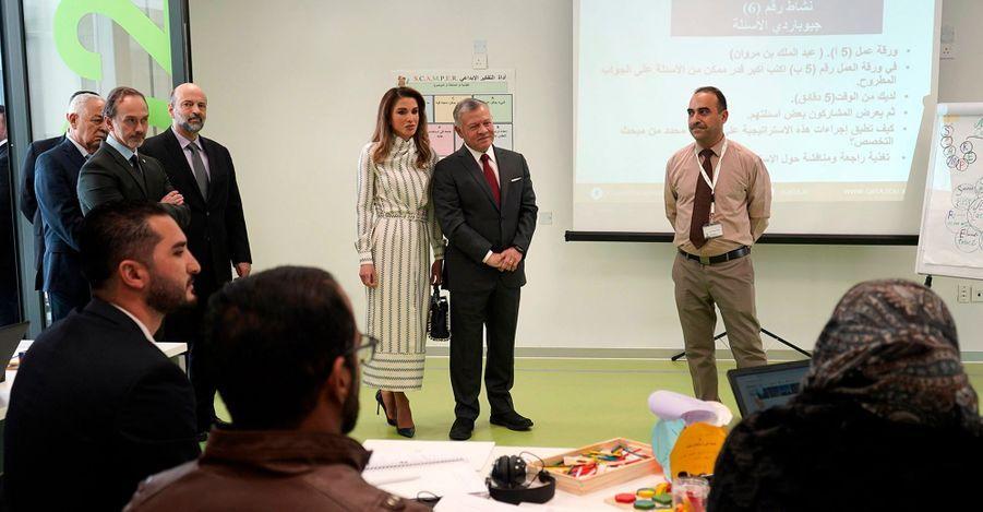 La reine Rania et le roi Abdallah II de Jordanie à Amman, le 27 janvier 2019