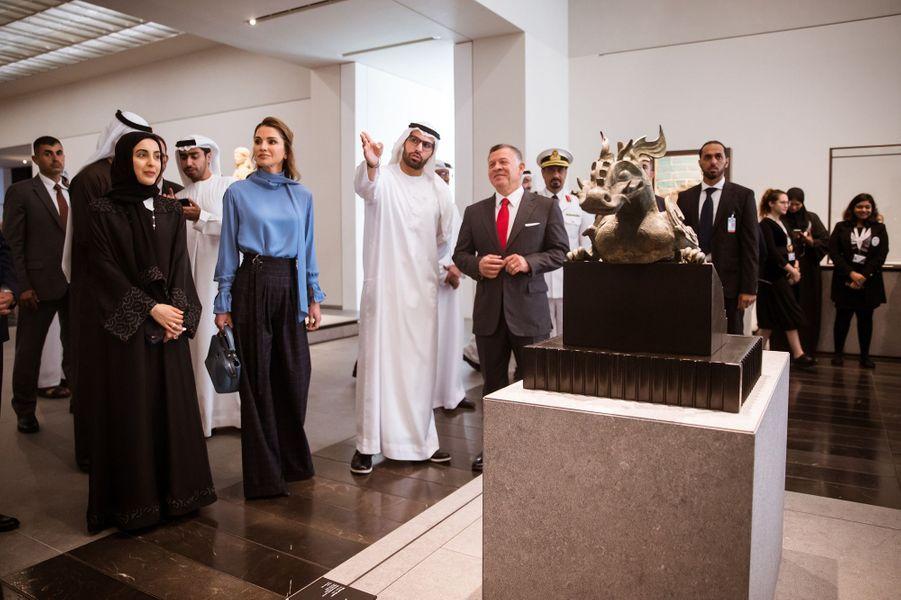 La reine Rania et le roi Abdallah II de Jordanie au Louvre Abu Dhabi, le 8 février 2018