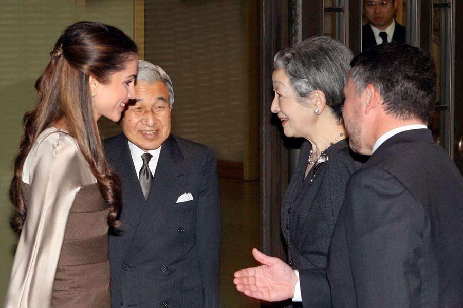 La reine Rania et le roi Abdallah II de Jordanie avec l'impératrice Michiko et l'empereur Akihito du Japon, le 21 décembre 2006