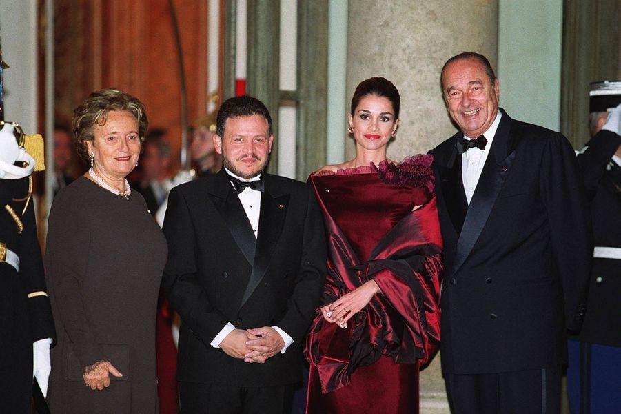 La reine Rania et le roi Abdallah II de Jordanie avec Bernadette et Jacques Chirac, le 15 novembre 1999