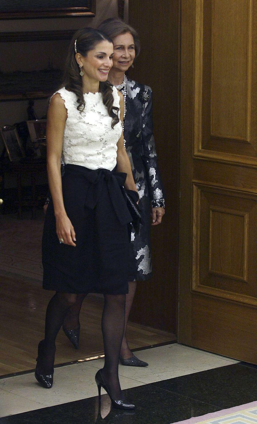 La reine Rania de Jordanie avec la reine Sofia d'Espagne, le 18 octobre 2008