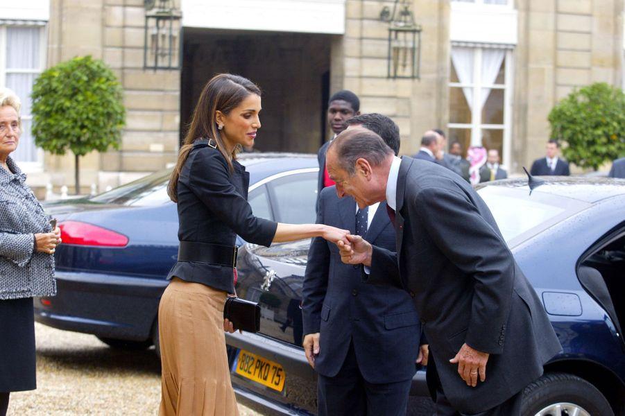 La reine Rania de Jordanie avec Jacques Chirac, le 1er octobre 2003