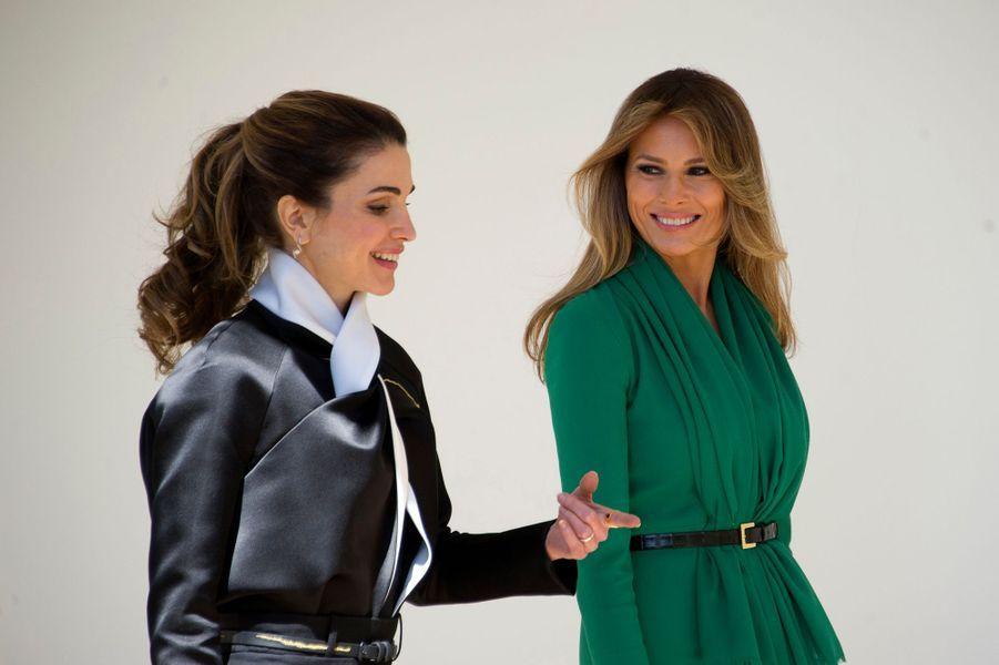 La reine Rania de Jordanie avec Melania Trump, le 5 avril 2017