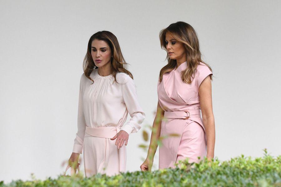 La reine Rania de Jordanie avec Melania Trump, le 25 juin 2018