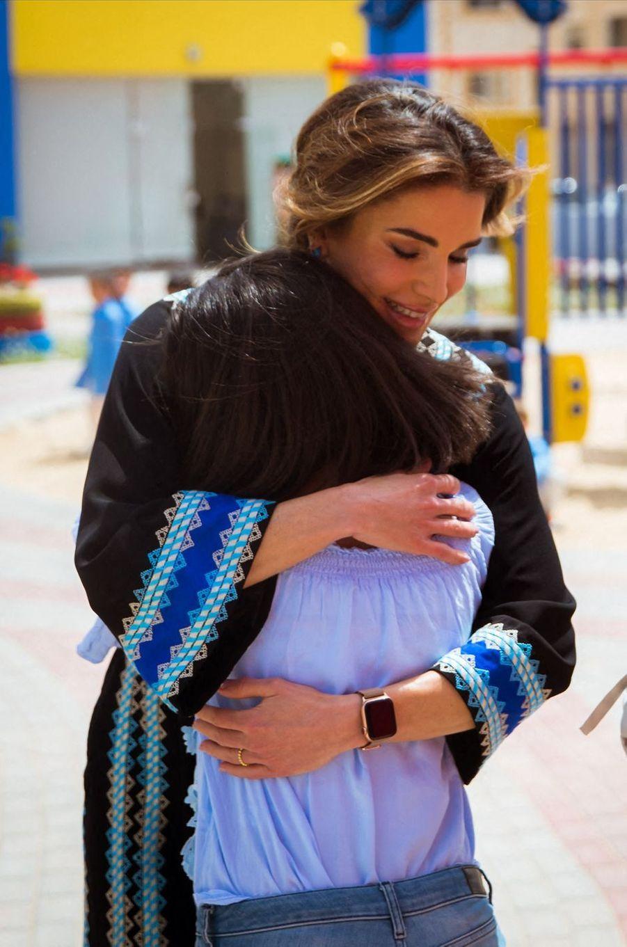 La reine Rania de Jordanie , le 8 avril 2019 à Al Mafraq
