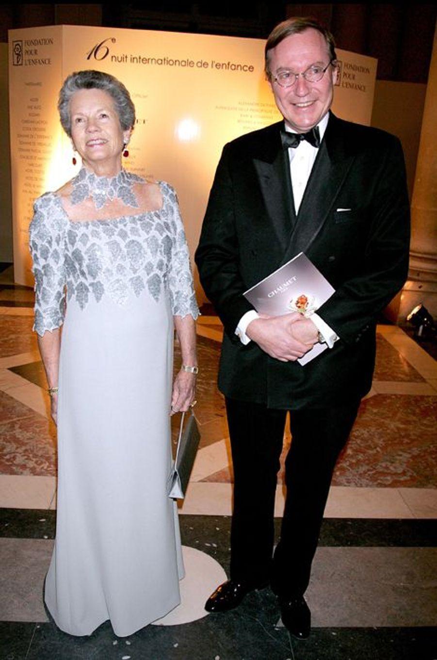 Le prince Jean de Luxembourg avec Anne-Aymone Giscard d'Estaing au château de Versailles, le 8 décembre 2008