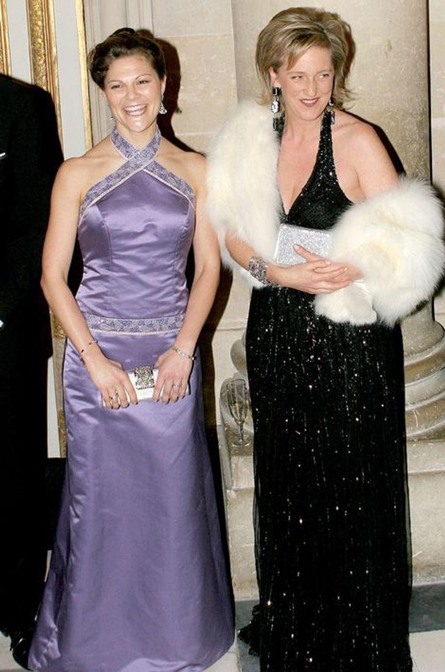 Les princesses Victoria de Suède et Astrid de Belgique au château de Versailles, le 4 décembre 2006