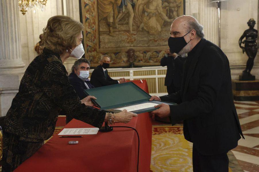 L'ancienne reine Sofia d'Espagne au Palais royal à Madrid, le 25 novembre 2020
