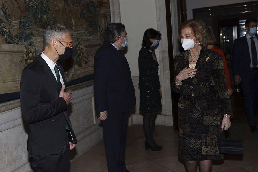 L'ex-reine Sofia d'Espagne au Palais royal à Madrid, le 25 novembre 2020