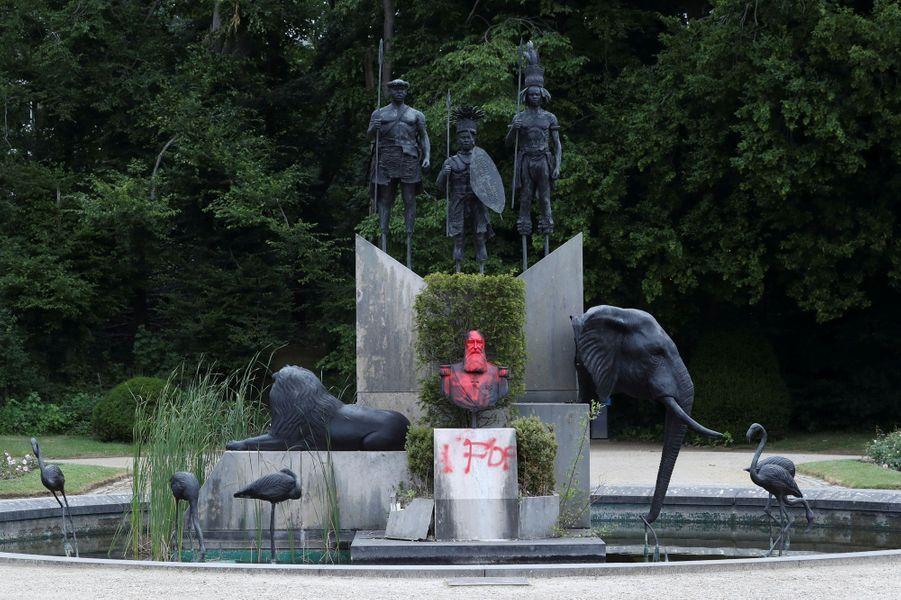 Le monument du roi des Belges Léopold II au musée de l'Afrique centrale à Tervuren vandalisé, le 9 juin 2020