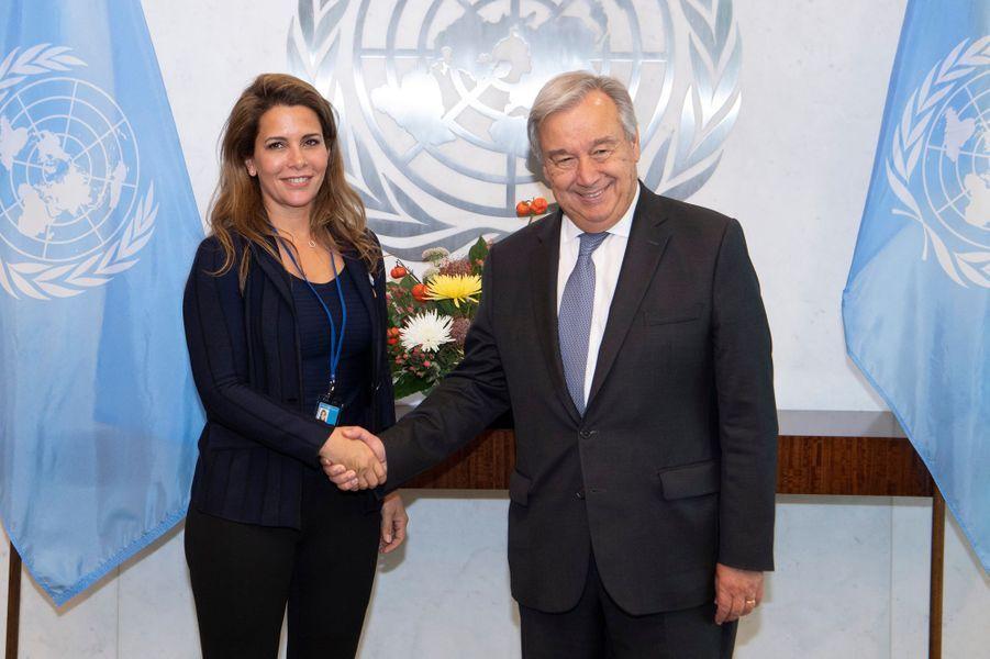 La princesse Haya de Jordanie avec le secrétaire général des Nations unies Antonio Guterres à New York, le 21 septembre 2018