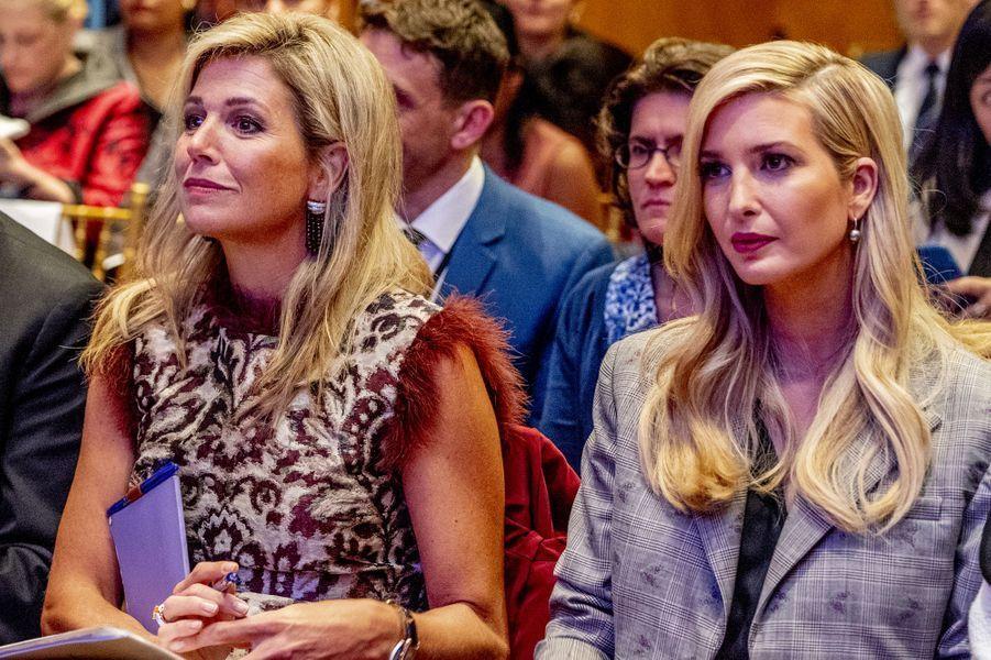 La reine Maxima des Pays-Bas avec Ivanka Trump à New York, le 25 septembre 2018